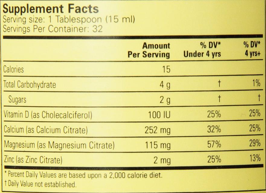 Thành phần của Childlife Liquid Calcium and Magnesium with Vitamin D